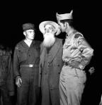Short Creek raid, Arizona, 1953. Pictured: Joseph Smith Jessop, 84, a founder of the Short Creek community; his son Tom and his nephew George, both Korean War veterans.